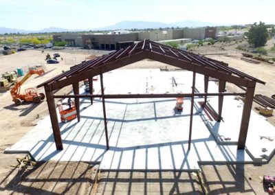 Ariel view of exposed structural steel of Lin's Grand Buffet in Tucson, Arizona