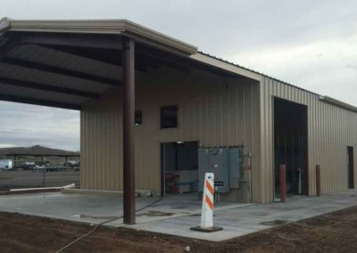 Arizona game and fish maintenance building with erected steel finished after a rainy day