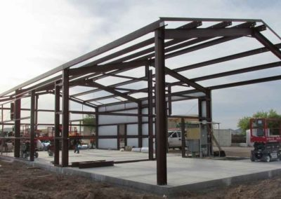 Arizona game and fish maintenance building skeleton view of the purlins and structure